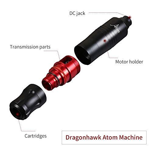 Dragonhawk Cartridge Tattoo Machine Atom Pen Kit, Rotary Tattoo Machine, Cartridge Needles Power Supply for Tattoo Artists (Atom+Ink)
