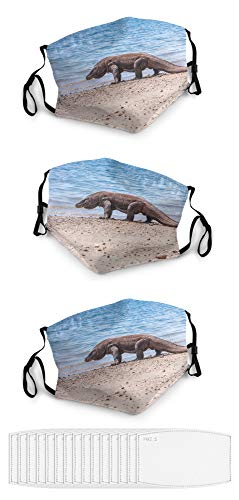 aosup Komodo Dragon / 3PCS Unisex Face Mask Balaclava Mouth Cover Windproof Dustproof Adjustable Mask Elastic Strap with 15 Filters Made in USA №SW195660