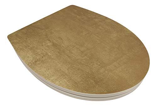 SITZPLATZ® WC-Sitz mit Absenkautomatik, Dekor Golden Touch, abnehmbar, Toilettendeckel aus antibakteriellem Duroplast, Top-Fix Befestigung von oben, universale O Form, Toilettensitz Matt-Gold 40700 7