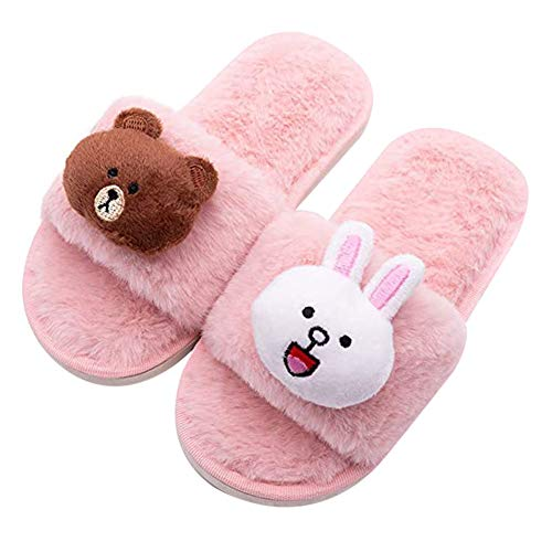 Vtops Süße Hausschuhe, Fußwärmer, Jungen Mädchen Süße Fuzzy-Hausschuhe Open Toe Home Slides für Kinder Erwachsene Indoor Warmschuhe