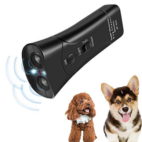 Handheld Dog Repellent& Trainer, Bark Stopper with LED Flashlight Ultrasonic Dog Deterrent Safe for Small/Medium/Large Dogs