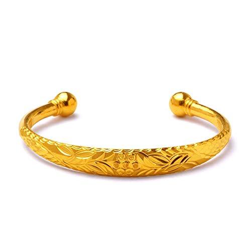 Pulsera chapada en oro regalo para mujer Loto abierto pulsera joyas a mano