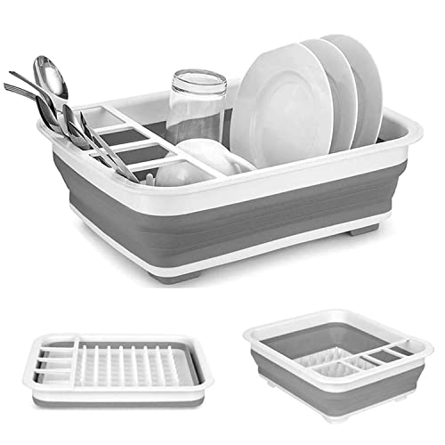 Collapsible Drying Dish Storage Rack, Dish Drainer Dinnerware Basket for Kitchen Counter RV Campers Portable Dinnerware Organizer