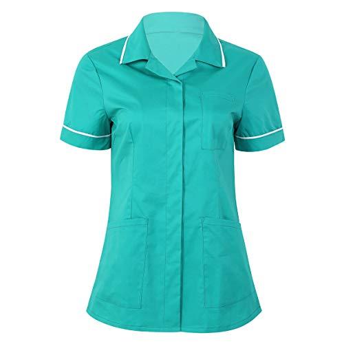 FEESHOW Damen Medizin Uniform Kurzarm Krankenschwester Pflege Kittel Arbeitskleidung Pflegerin Kostüm Blaugrün XL