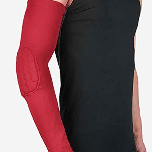 Kompressions-Ellenbogenschoner für Herren, Basketball, atmungsaktiv, Sonnenschutz, UV-geschützt, zum Reiten L rot
