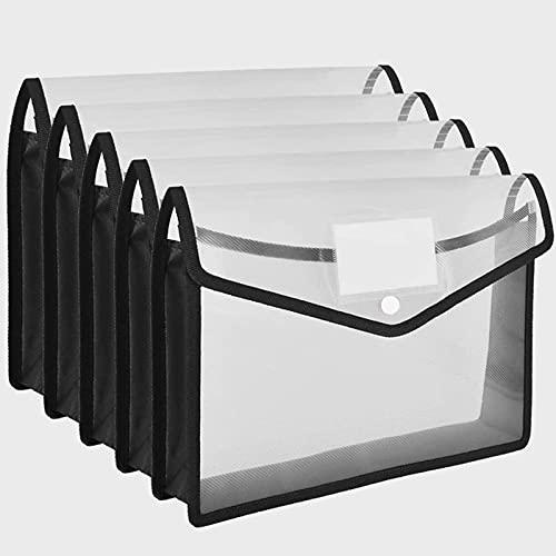 HLSH 5Pcs Cartelle Portadocumenti Cartelle Portadocumenti A4 Portafogli ventiquattrore Cartelle in Cartone Nero Tasche Portafogli in plastica per scartoffie Archiviazione File d'ufficio