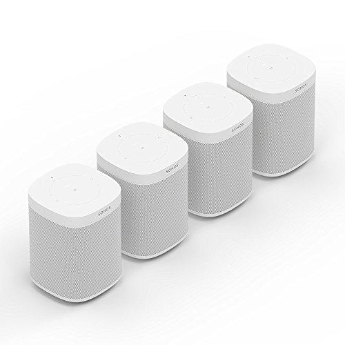 Sonos One Smart Speaker 4-Raum Set, weiß – Intelligente WLAN Lautsprecher mit Alexa Sprachsteuerung & AirPlay – Vier Multiroom Speaker für unbegrenztes Musikstreaming