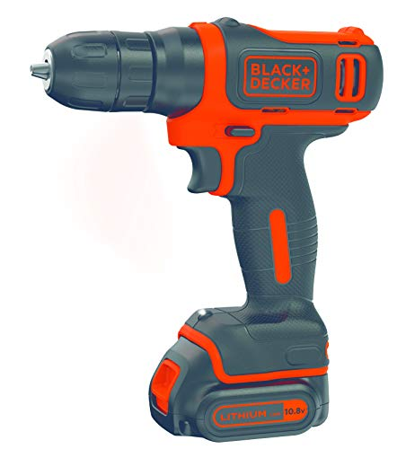 BLACK+DECKER BDCD12 10.8V Li-Ion Cordless Drill (Orange, 3-Pieces)