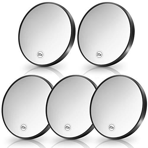 5 Pièces Miroir Grossissant 20x avec 2 Ventouses Utilisation pour Maquillage Miroir Grossissant environ 4 Pouces Miroir de Maquillage en Verre Lisse