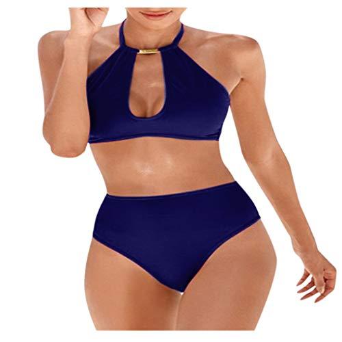 Fenverk Bikini Tankini Bademode Badeanzug Monokini Retro Groß Größe Sets Plus Size Bandeau High Waist Bikini Damen Bauchweg,Halter Rüschen Hoher Taille Zweiteilige Strandkleidung(A Dunkelblau,XL)