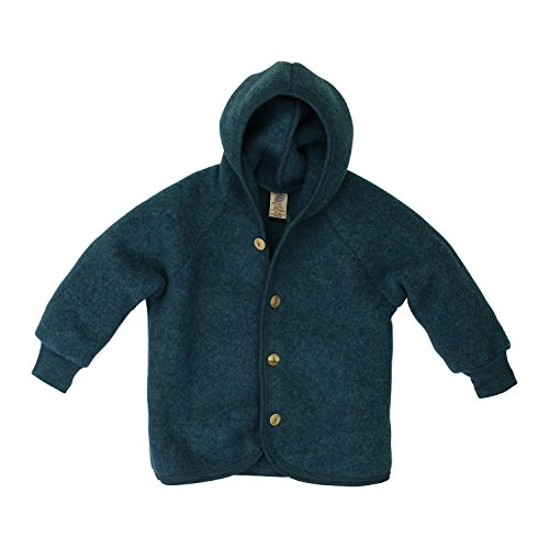 Engel Baby Jacke mit Kapuze Wollfleece, 74/80, Petrol Melange