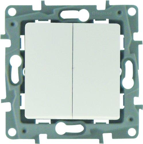 Legrand LEG96605 Niloe - Pulsador doble, color blanco