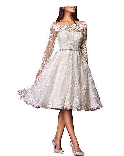 YASIOU Hochzeitskleid Brautkleid Standesamt Damen A Linie Spitze Tüll Weiß Vintage mit ärmel Knielang Langarm Hochzeitskleider