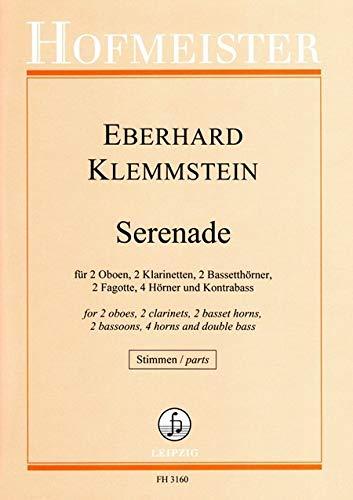 Klemmstein, Eberhard: Serenade für 2 Oboen, 2 Klarinetten, 2 Bassethörner, 2 Fagotte, 4 Hörner und Kb Stimmen