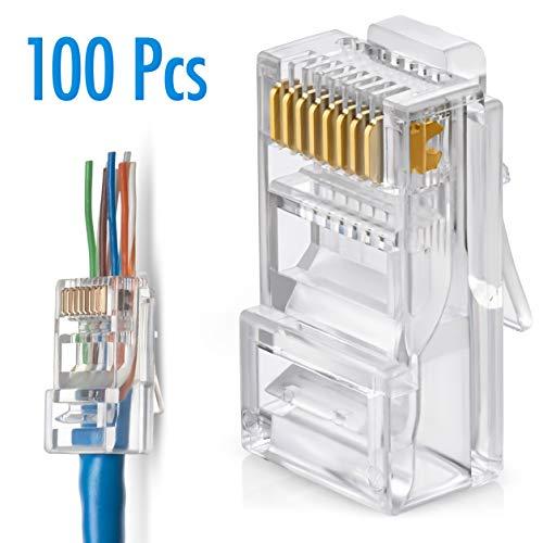 RJ45 Cat6 Pass Through Connectors Pack of 100 | EZ Crimp Connector UTP Network Plug for Unshielded Twisted Pair Solid Wire & Standard Cables | Transparent Passthrough Ethernet Insert