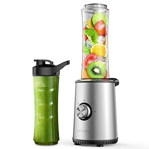 HadinEEon Smoothie Mixer mit 3 Modus,Mini Standmixer, Elektrischer Entsafter aus Edelstahl für Smoothie, Shakes, Eis und Tiefkühlfrüchte, Babynahrung, mit 2x600ml BPA Freie Flasche 350W