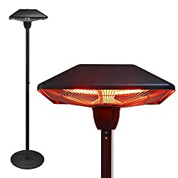 Hand-Mart Freestanding Electric Patio Heater Outdoor Infrared Heater, 1500W Tip Over Protection Height Adjustable Balcony Heater Waterproof for Indoor and Outdoor Use Stainless Steel Square Top Black