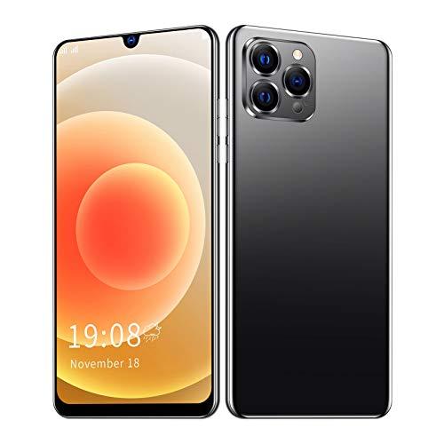KIKYO Teléfono Inteligente, con reconocimiento Facial de Pantalla Completa IP12 Pro + 6.26in HD y teléfonos celulares con cámara HD cumpleaños, para Padres,(Black)
