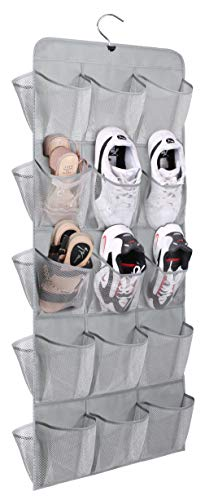 MISSLO 30 Large Pockets Dual Sided Hanging Shoe Storage Organiser for Wardrobe Rail with Rotating Shoe Hanger Toddler Shoe Rack, Grey