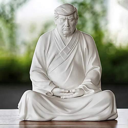 Trump Buddha Statue - Handmade Resin Decorative Ornaments, Xitian Listening Buddha Figurine, Zen Vibe Table Centerpiece, Spring Decorations for Home, Garden, Lawn, Cars, Office Desktops