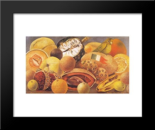 Still Life with Parrot and Flag 20x24 Framed Art Print by Frida Kahlo