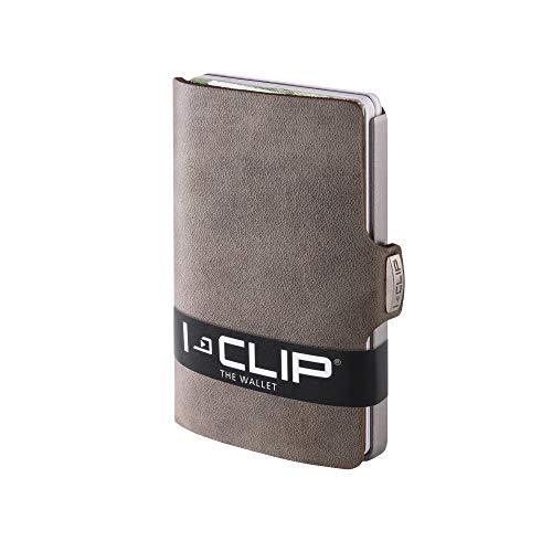 I-CLIP ® Portafoglio Soft-Touch Oliva, Metallic-Grey (Disponibile in 8 Versioni)