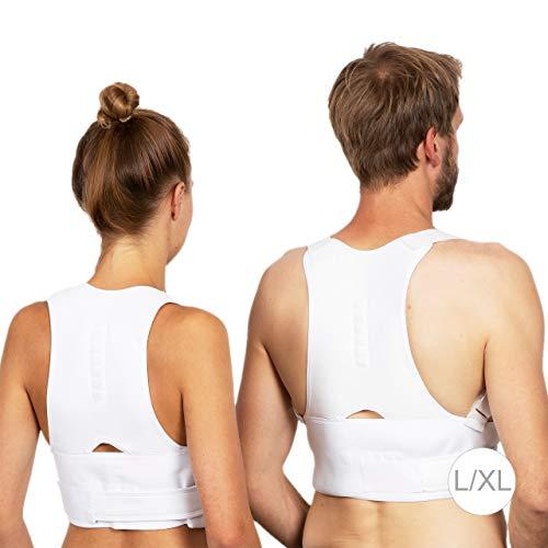 Relaxdays Haltungskorrektur Rücken, korrigierende Rückenstütze, Rücken Geradehalter, Damen & Herren, Größe S/M, weiß