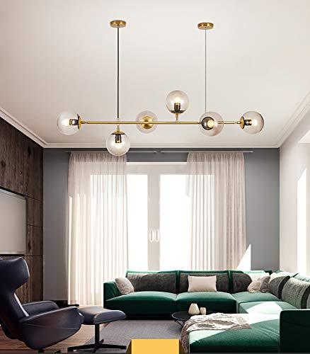 Pendelleuchte Dimmbar Kronleuchter Wohnzimmer Kronleuchter LED Hängende Leuchte Industrie Glas Lampenschirm Höhenverstellbar Deckenleuchte E27 Steckdosen,Hängelampe für Wohnzimmer Schlafzimmer