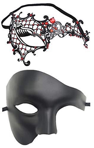 Couple Masquerade Mask Women Men Venetian Mardi Gras Halloween Metal Phantom Party Ball Mask (Red)