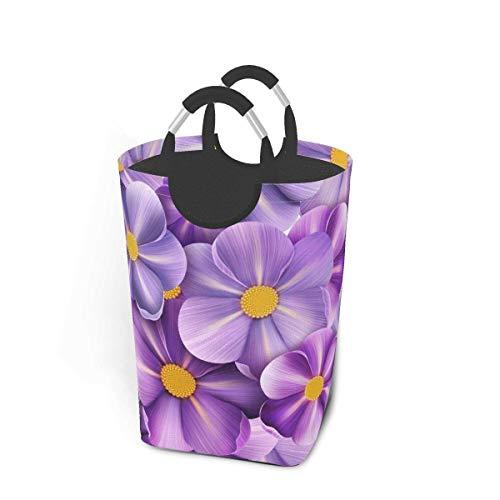 Cestas de lavandería plegables, cesto de ropa sucia, flores de lino de flores de verano, cesto de lavandería plegable con asas de metal, tela de cesto de lavandería plegable para dormitorio pa