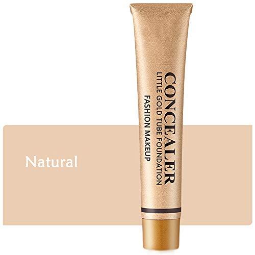 Little Gold Tube Full Coverage Foundation Anti-cernes, Crème de Couverture de Maquillage Imperméable Longue Durée, Liquide léger, pour le Tatouage des Yeux Noirs (Naturel)