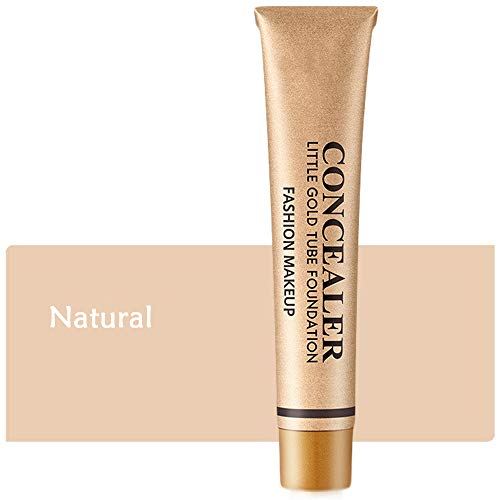 Little Gold Tube Foundation Concealer,Langlebig wasserdicht, Ölkontrolle Make-up-Abdeckcreme für Tätowierungen, Akne, Pickel und Haut unter den Augen | 50 g (Natürliche Farbe)