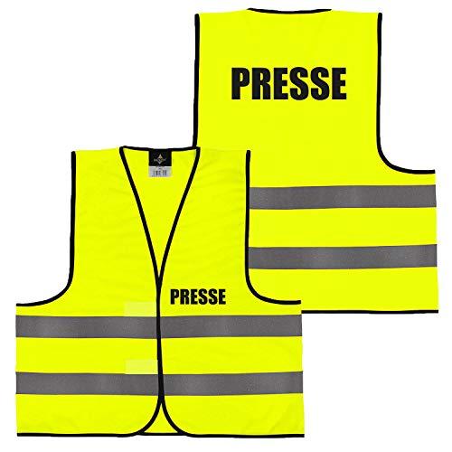Warnweste Gelb Orange, beidseitig bedruckt auf Brust und Rücken mit Ordner, Security große Auswahl Motive Aufdrucke 023 Presse (Gelb) M