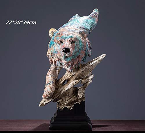 hacpigbb Pintura Al Óleo Pintada A Mano Serie Animal Estatua Arte Decoración Simple Moderna Sala Decoración Regalo De Boda - Cabeza De Oso