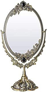 Vintage Dressing Table Makeup Mirror European Style Metal Makeup Mirror Portable Double Sided Vanity Mirror 360° Swivel HD Princess Mirror for Home Travel