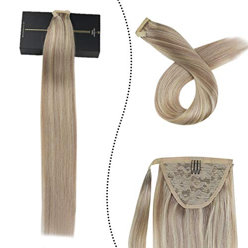 Extensions Pferdeschwanz Echthaar 100% Remy Brasilianer Haarteile Zopf 60GR 18Zoll Clip-in Ponytail Wrap Around Haarverlangerung Easy Fit (Aschblond gemischt Gebleichtes Blond #P18/613)