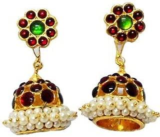 India4you Imitation Gold Polished Brass with Kemp & Pearls Bharatanatyam Dance Temple Jewelry Earring Jumka Jimikki Set