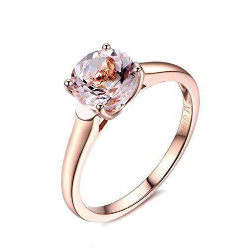 Bishilin Damen Ring 18 Karat 4-Steg-Krappenfassung Rund Morganit 1.21ct Verlobungsring Hochzeit Ring Gr. 47 (15.0)