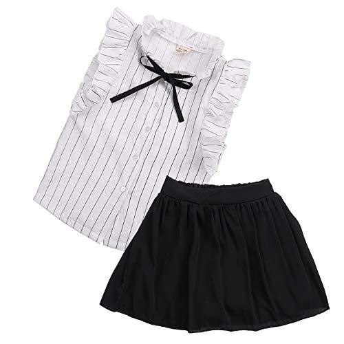 Conjunto de niña de 1 a 6 años, 2 piezas, top de manga larga off-hombro, falda de campana con impresión floral, clásico, dulce, casual, verano, blanco, Negro , 4-5 Years