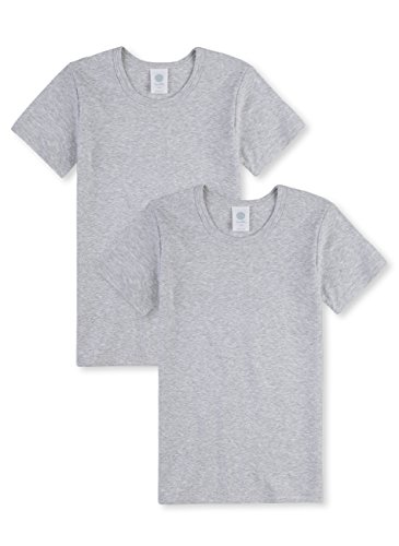 Sanetta Jungen T-Shirt halbarm im Doppelpack aus Bio-Baumwolle - Made in Europe - hellgrau Melange (1646), 128