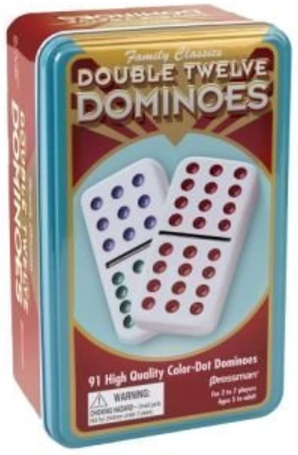 Pressman Double 12 color Dot Dominos In A Tin by Pressman Toys [Toy]