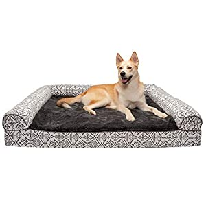 Furhaven Pet Dog Bed – Memory Foam Plush Kilim Southwest Home Decor Traditional Sofa-Style Living Room Couch Pet Bed with Removable Cover for Dogs and Cats, Boulder Gray, Jumbo Plus