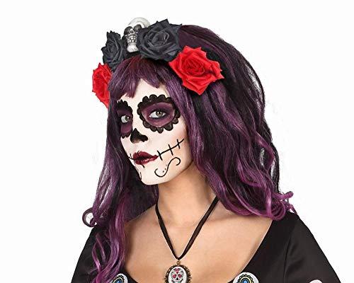 Atosa - Diadema FLores Roja y Negra - AT 39968. - Halloween, Sombreros, Gorros, Cascos y Diademas