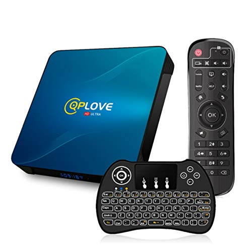 Android TV Box 100 Q8 QPLOVE 4 GB 128 GB mit Mini Tastatur Touchpad RK3318 Quad Core 64bit 4K Ultra HD Smart TV Box Unterstutzung Dual WiFi 24G5 GHz 100 M LAN H265 3D Bluetooth 40 Set Top Box
