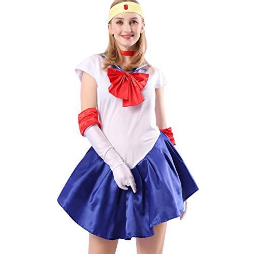 Baipin Disfraz De Sailor Moon Anime Cosplay, Azul Oscuro Vestido y Guantes Blancos Arco de Princesa Vestido Uniforme de Juego para Mujer, Talla M, Longitud 82cm