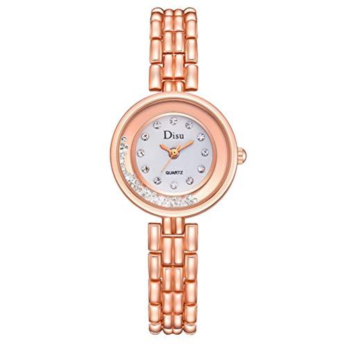 Relógios masculinos, relógios de pulso femininos de luxo com pulseira de quartzo (ouro rosa + branco)