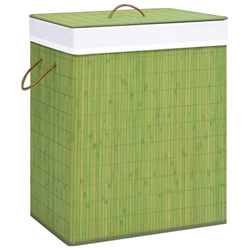 UnfadeMemory Cesto de Ropa Sucia Rectangular,Cesto de Clasificación de Lavandería,Plegable,con Forro de Tela Extraíble,Bambú (43,5x33.5x65,5cm, Verde)
