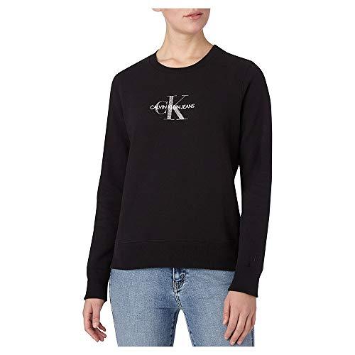 Calvin Klein Jeans – Sudadera para mujer con logotipo de purpurina Negro XS