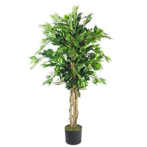 Silk Flower Arrangements Leaf 120cm Premium Artificial Twist Tree, 6, Dark Bushy Ficus