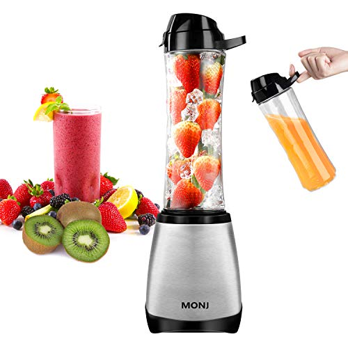 MONJ Personal Blender, Countertop Blender,Smoothie Blender with 2x20 Oz Tritan BPA-Free Sports Bottles, Single Serve Blender for Shakes and Smoothies, 300W